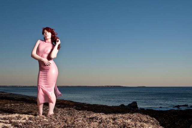 latex dress, latex gown, transparent latex