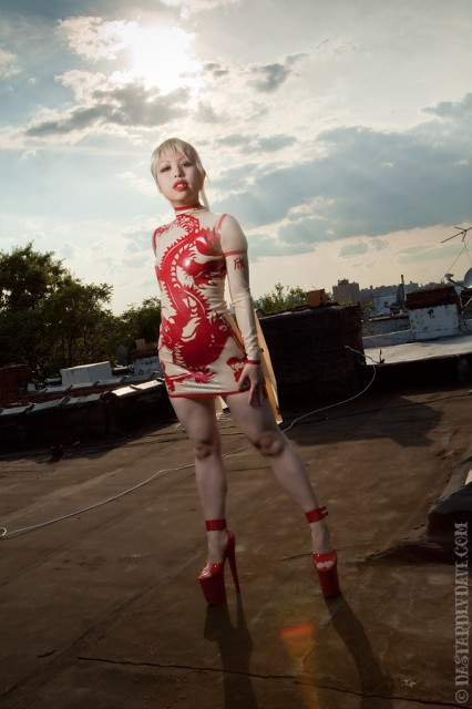 dragon dress, latex china dress, china girl