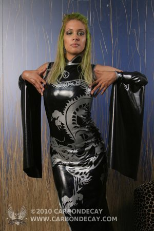 Latex China Dress, Latex Dragon Dress, Latex Kimono