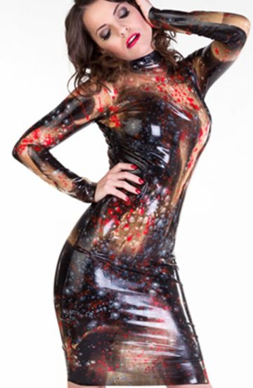 Long Sleeved Galaxy Dress Dawnamatrix Latex Clothing