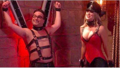 Kaley Cuoco, Riding Crops, Fishnets and a Bared Breast