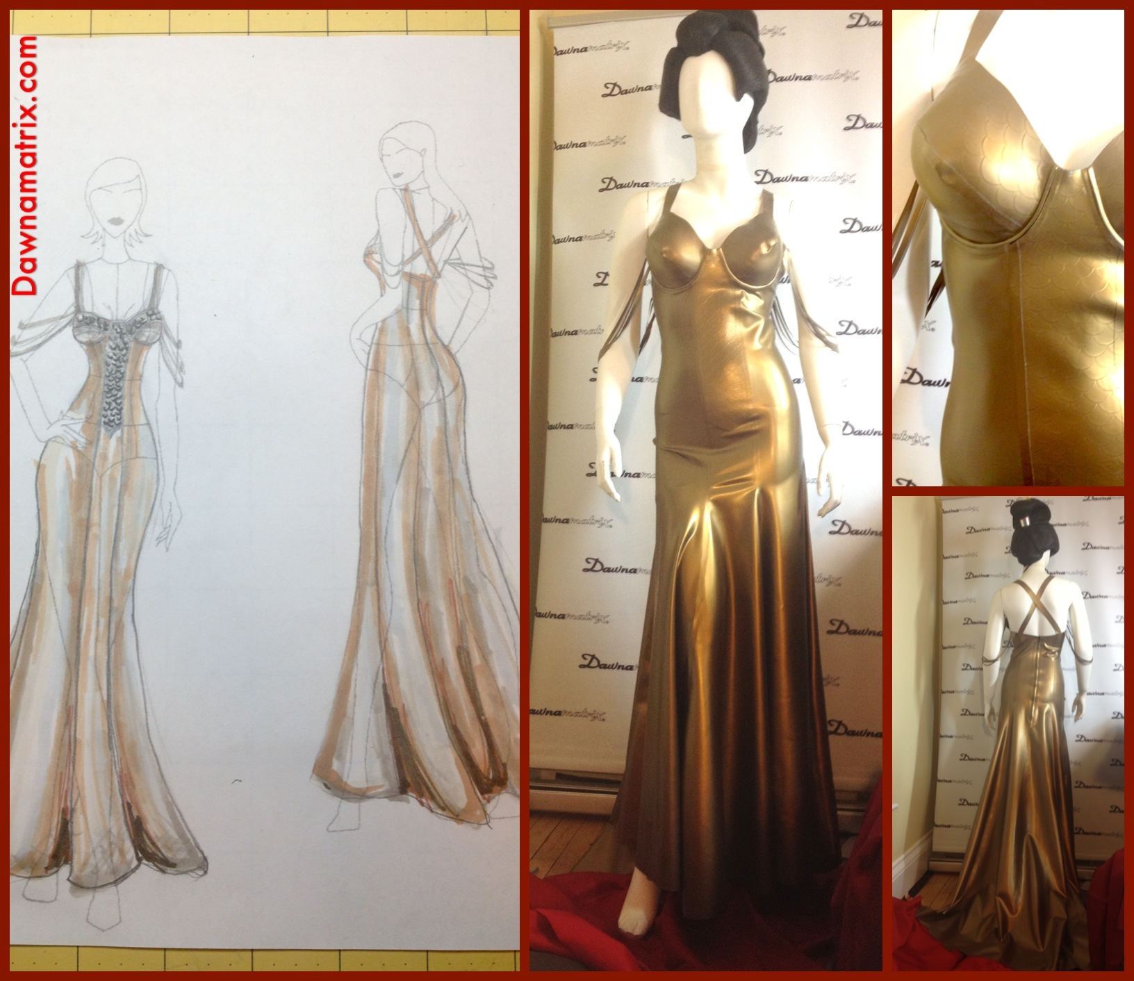 "Dawnamatrix Gold Latex Gown In Kelly Padrick's New Video ""Radiance"""